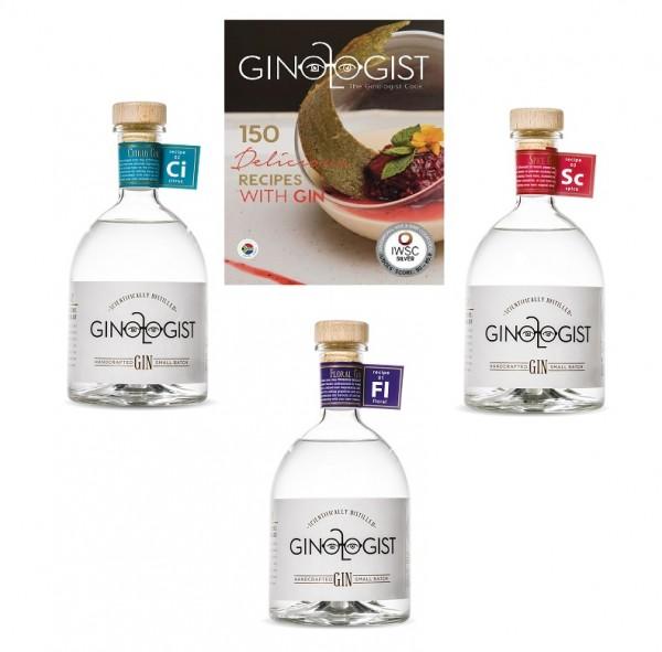 3 Ginologist Gin und 1 Gin Kochbuch im Set