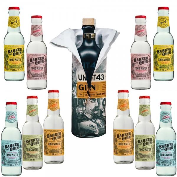 Unit43 Gin Probierpaket mit 5 Sorten / 10 Flaschen Barker and Quin Tonic Water