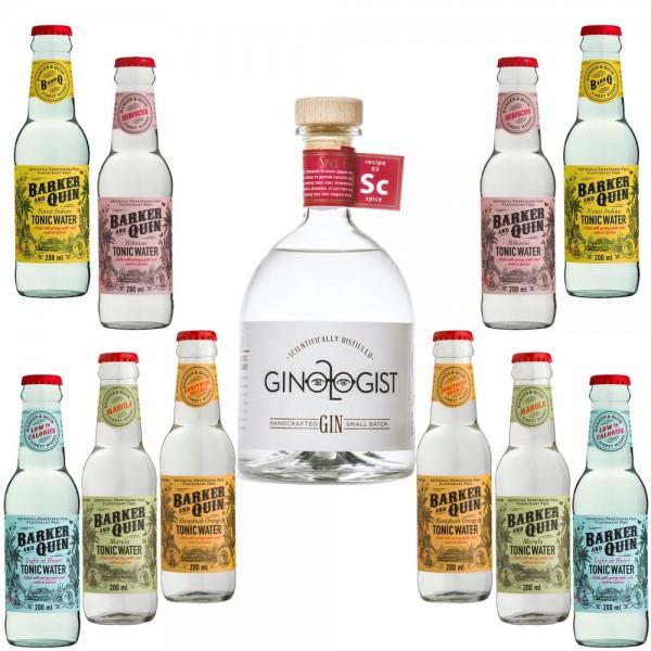 Ginologist Spice Gin Probierpaket mit 5 Sorten / 10 Flaschen Barker and Quin Tonic Water