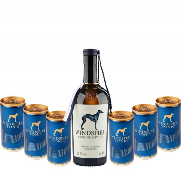 Windspiel Premium Dry Gin mit 4 Blue Tonics