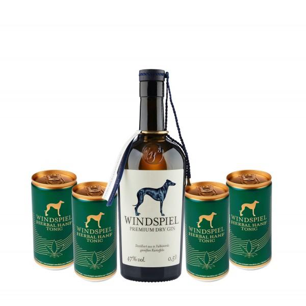 Windspiel Premium Dry Gin mit 4 Herbal Hanf Tonics